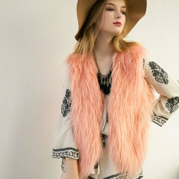 Chic Long Hair imitation fur V-neck vest Faux Fox Fur vest With a buckle fur Basic Tank Tops Short Waistcoat fur sleeveless Coat