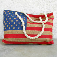 American Flag Summer Beach Tote