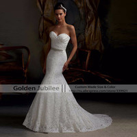 2016 Hot Sale Elegant Sweetheart Ivory White Lace Mermaid Wedding Dresses 2016 Back Lace Up Real Photo Cheap vestido de noiva
