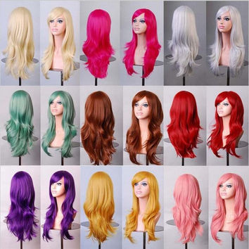 12 colors Anime Cosplay wig high quality womens party kanekalon fibre synthetic hair wigs 70cm long curly black/red/pink/brown