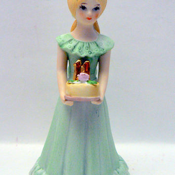 Growing Up Birthday Girls 11 Year Old Blonde Hair Young Girl 11th Birthday Ceramic Doll Collectible Figurine by Enesco