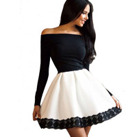Women Sexy Off Shoulder Lace Dresses Casual Long Sleeve Party Bodycon Bandage Dress