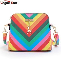 Vogue Star 2017 Summber New  women's messenger bag rainbow shell bag pu Leather small shoulder bags women purses and handbags A8