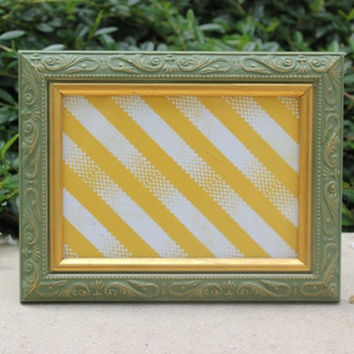 Antique 5 x 7 olive green and gold picture frame