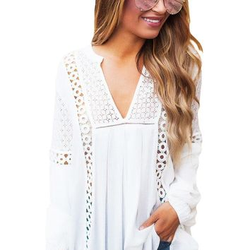 Chicloth White Crochet Lace Trim Relaxed Long Sleeve Tunic