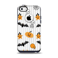 The Halloween Icons Over Gray & White Striped Surface  Apple iPhone 5c Otterbox Commuter Case Skin Set