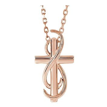 14k White, Yellow or Rose Gold Infinity Cross Necklace, 16-18 Inch