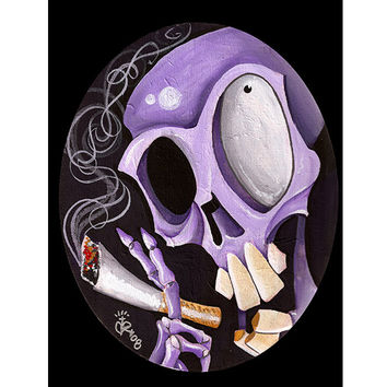 Smoking Skull Art Print by Artist Kirsten Pedroza