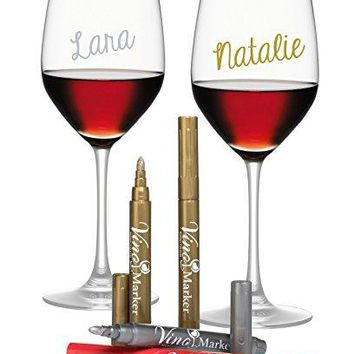 Vino Marker Metallic Wine Glass Washable Pens 4 pack  Perfect Housewarming Present or Hostess Gift for Wine Tastings Dinner Parties or Any Event