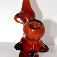 The Predator Evolved - Heady Sherlock Pipe Tall Upright Standing Glass Smoking Bowl - Fumed Amber Brown Glass with Claw Horn Spikes