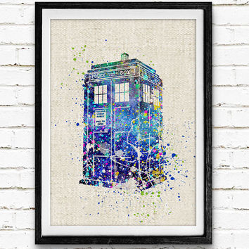 Tardis Doctor Who Poster, Watercolor Print, Children's Room Wall Art, Minimalist Home Decor, Gift, Not Framed, Buy 2 Get 1 Free!