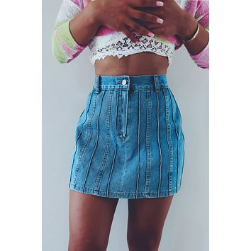 In Your Favor Skirt: Denim