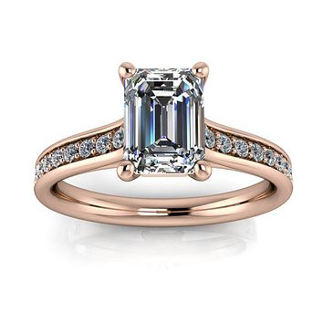 Classic Emerald Cut Engagement Ring Diamond Setting - Emma