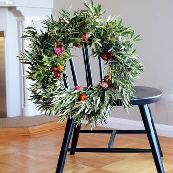 Paper Daisy and Olive Wreath