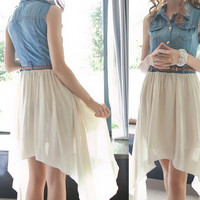 A 071814 Denim stitching chiffon dress