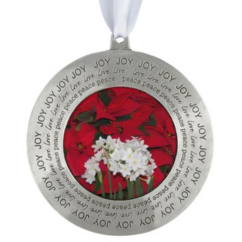 Red Poinsettias and Paperwhite Narcissus Holiday Pewter Ornament