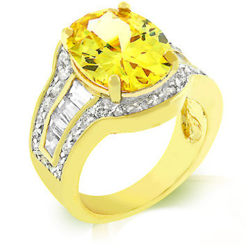 Yellow CZ Cocktail Ring