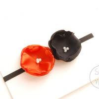 Baby Halloween Headband, Black and Orange Flower Baby girl Headband, newborn Headband, Baby Headband, Infant Headband, Baby Flower girl