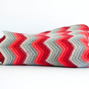 Vintage Chevron Afghan Red and Gray Zig Zag Throw Blanket