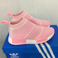 "Women ""Adidas"" NMD Boots Casual nmd Sports Shoes Pink white stripe"