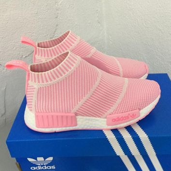 """Women """"Adidas"""" NMD Boots Casual nmd Sports Shoes Pink white stripe"""