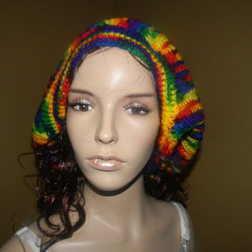 DREAD Locks Open Ended HAT/SCARF.Rainbow Fiesta Pattern.One of A kind.giant wig cover.travel head wrap