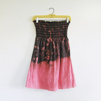 Juicy Couture strapless dress, upcycled bleached eyelet tunic with dip dye XS S, brown and coral