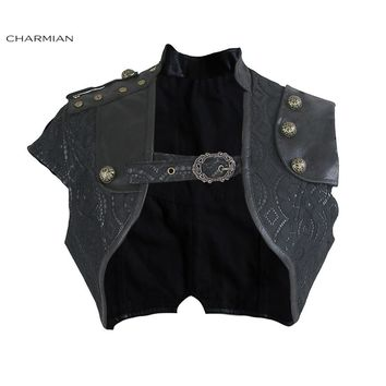 Trendy Charmian Women's Steampunk Black Leather Corset Shrug Medieval Victorian Retro Gothic Floral Lace Bolero Shrug Short Jacket AT_94_13