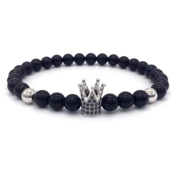 NAIQUBE 2018 New Brand Fashion Imperial Crown Charm Bracelet Men Stone Beads For Women Men Jewelry Gift Pulsera Hombres