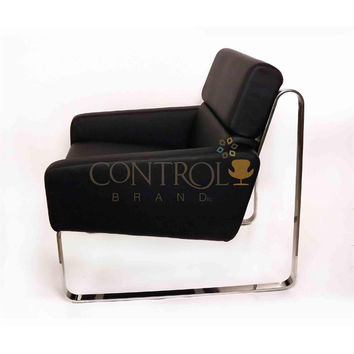 Jesper Holm Chair in Black PU Leather & Stainless Steel Frame