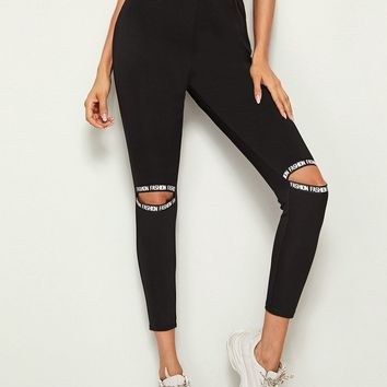 Letter Print Ripped Tight Leggings