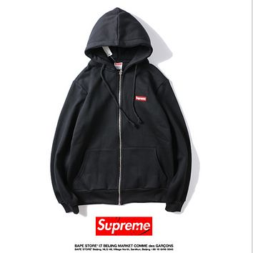 SUPREME embroidered small standard tied rope hooded cardigan zipper patch pocket long-sleeved straight sweater Black