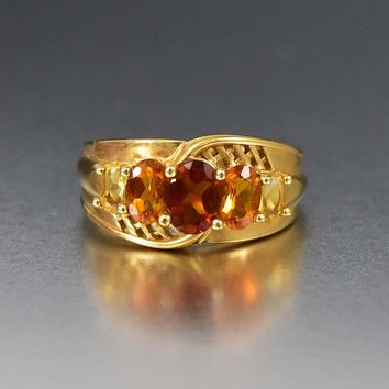 14K Solid Gold Honey Citrine Statement Ring