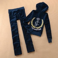 Juicy Couture Crown Logo Velour Tracksuit 6024 2pcs Women Suits Navy