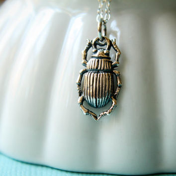 Scarab Beetle Necklace in Sterling Silver