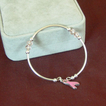 Pale Pink Pearl Breast Cancer Awareness  Bangle Bracelet C105