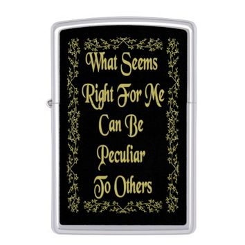 Peculiar Gold Quote by Kat Worth Zippo Lighter