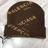 BALENCIAGA Classic Popular Women Men Casual Jacquard Knit Hat Cap Coffee