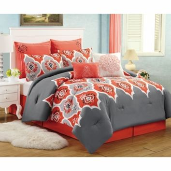 8 Piece Queen Casis Red and Gray Comforter Set