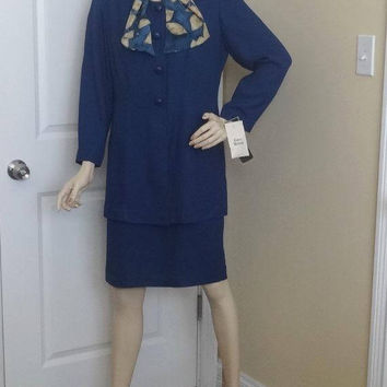 1980s JC Penney Studio I Petite Dress in Navy with Scarf, New with Tags, Size 12, UNWORN, Vintage Clothing, 1980s Fashion, 2 Piece Look