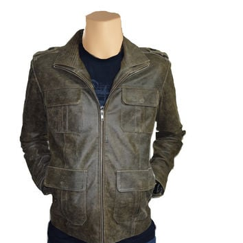 Distressed leather jacket with point collar