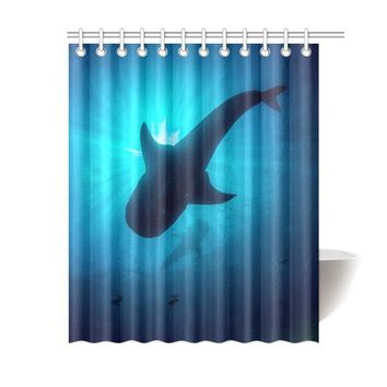 Whale Shark Polyester Shower Curtain 60x72 inch