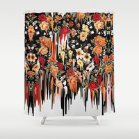 Free Falling, melting floral pattern Shower Curtain by Kristy Patterson Design