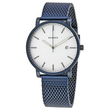 Skagen Hagen White Dial Mens Blue Ion Plated Watch SKW6326