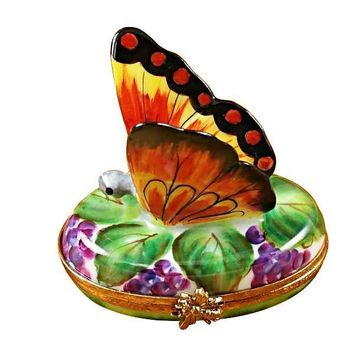 BUTTERFLY ON GRAPES LIMOGES BOXES