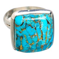 Blue Copper Turquoise Square Sterling Silver Ring