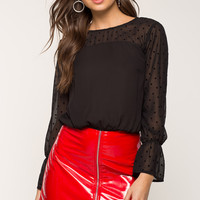 Flocked Dot Blouse