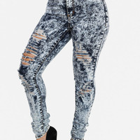 Distressed High Waist Acid Skinny Jeans