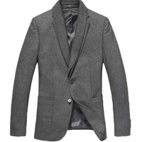 The Blake Wool Blazer Grey - leatherandcotton