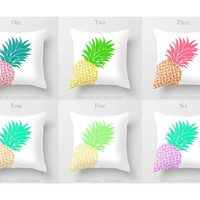 Pineapple Fruit 16x16 Graphic Decorative Cover Ananas Mint Peach Teal Purple Yellow Green Hot Pink Neon Orange Couch Art Decorative Spring